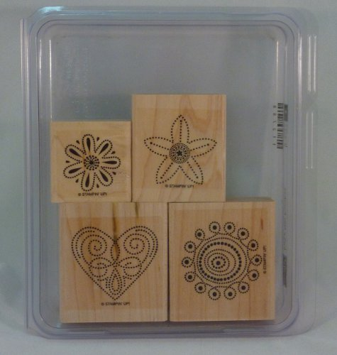 Stampin' Up! POLKA DOT PUNCHES Set of 4 Decorative Rubber Stamps Retired (Retired Rubber)