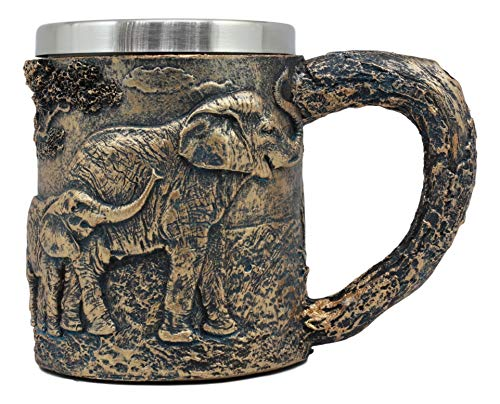 Ebros Animal Totem Spirit Safari Elephant And Calf Family Mug Textured With Rustic Textured Tree Bark Design In Painted Bronze Finish 12oz Drink Beer Stein Tankard Coffee Cup (Elephant Family)
