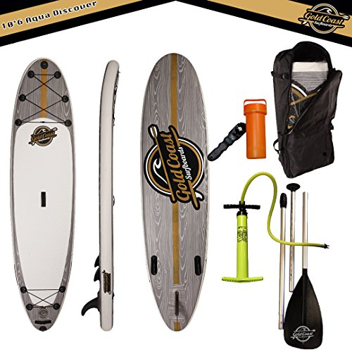 Gold Coast Surfboards - 10'6 Aqua Discover ISUP Package - Inflatable Stand Up Paddle Board 6'' Thick, Inflatable Paddle Board Floating Paddle, Pump, Leash, Fins, & Back Pack +2 YEAR WARRANTY by Gold Coast Surfboards