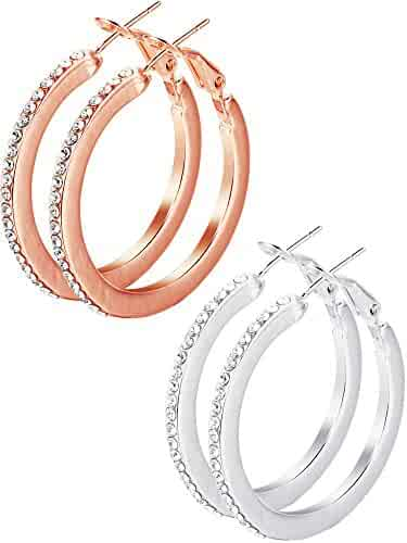 0c4d98f4ac2a51 Hestya 2 Pairs Earrings Stainless Steel Cubic Zirconia Earrings Rhinestone  Piercing Earring Set for Women,