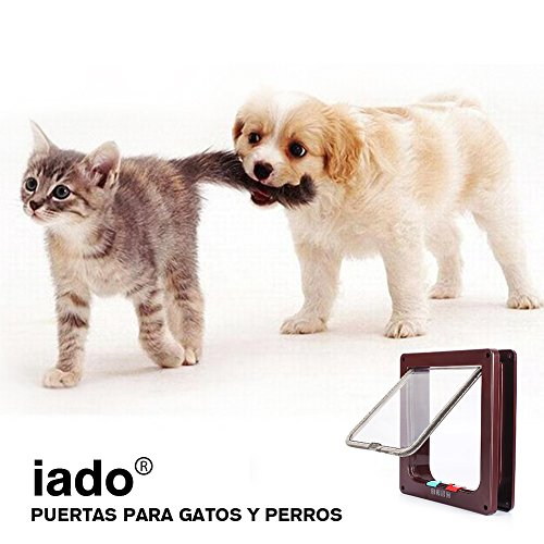 Puerta de Mascota, Puerta para Gatos/Perros, Autoestimulable para Puerta Corredera para Mascotas, Asegura su Mascota con Puerta de Gato de 4 vías - 23 * 25 ...
