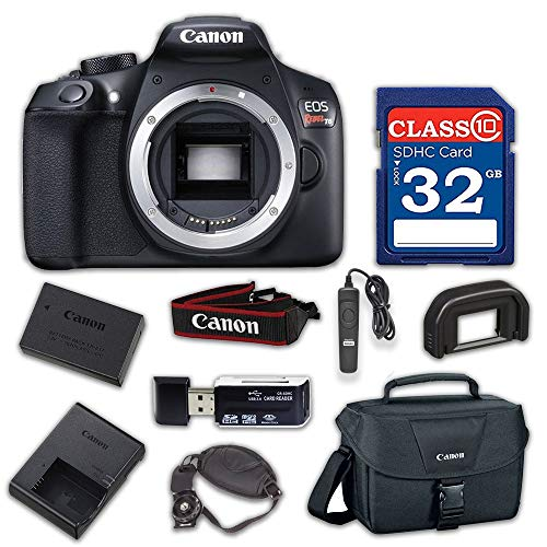 Canon EOS Rebel T6 Digital SLR Camera with Built-in WiFi and NFC (Body Only) with 32GB Class 10 Memory Card, Wired Remote & 100ES Shoulder Bag
