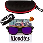 Woodies Zebra Wood Sunglasses with Mirror Polarized Lens for Men and Women 9 Handmade from REAL Zebra Wood (50% Lighter than Normal Sunglasses) Includes FREE Carrying Case, Lens Cloth, and Wood Guitar Pick Polarized Lenses Provide 100% UVA/UVB Protection