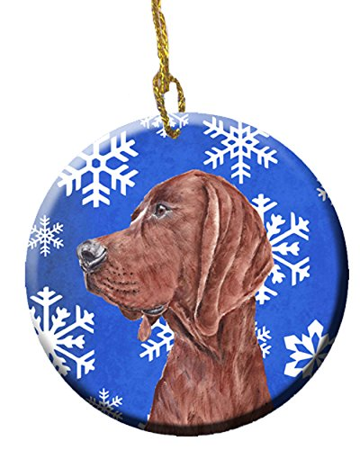 Caroline's Treasures Redbone Coonhound Winter Snowflakes Ceramic Ornament SC9779CO1