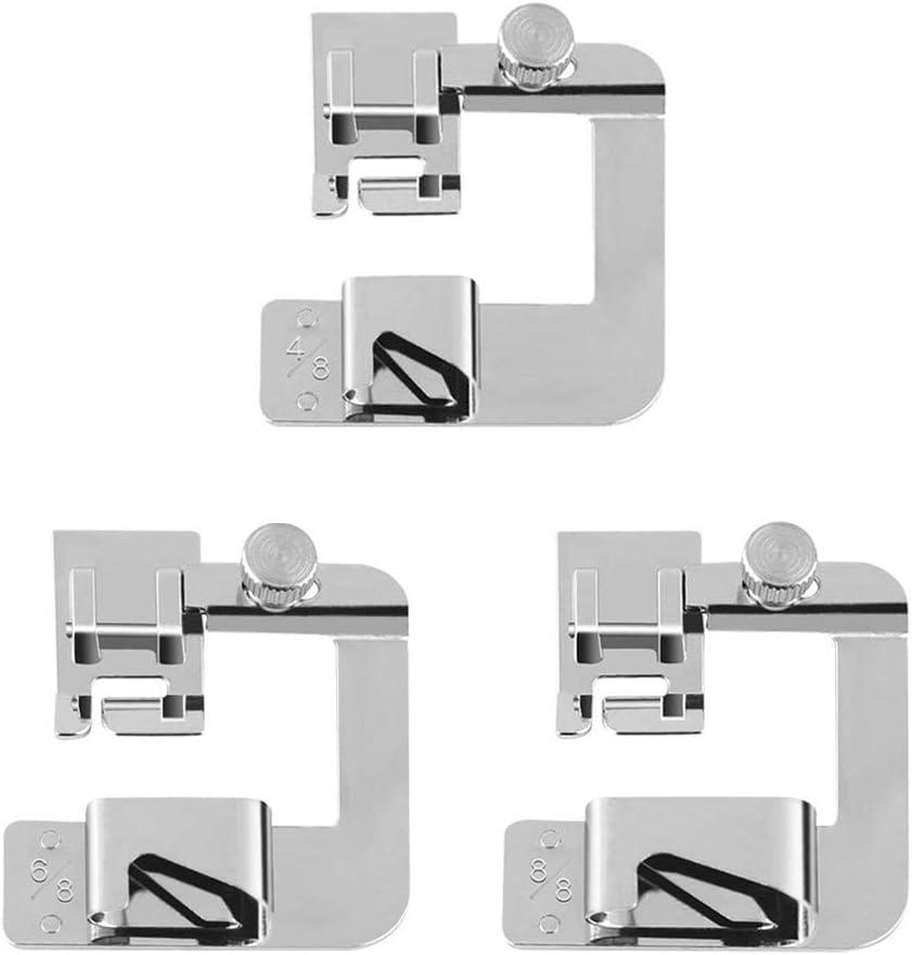 Kit Prensatelas,3 piezas Pie Prensatelas de 4/8 6/8 8/8 Pulgadas Máquina de Coser con Dobladillo Estrecho Rollo Estrecho Pies Prensatelas Para Máquinas de Coser Multifunción Domésticas