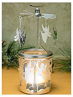 Spinning Candle - Silver Angel Charms Spin Around This Frosted Glass Scandinavian Design Candle Holder - Rotary Candleholder - Carousel Candles