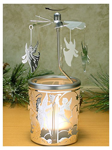 Glass Angels Candle Holder (Spinning Candle - Silver Angel Charms Spin Around This Frosted Glass Scandinavian Design Candle Holder - Rotary Candle holder - Carousel Candles)