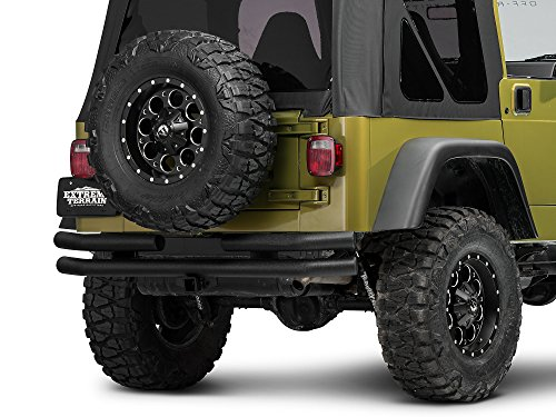 - Barricade Double Tubular Rear Bumper with Receiver Hitch in Textured Black - for Jeep Wrangler YJ & TJ 1987-2006