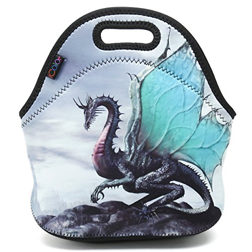 nsulated Neoprene Lunch Bag Tote Handbag lunchbox Food Container Gourmet Tote Cooler warm Pouch For School work Office (Cool Dragon)