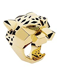 Ever Faith Gold-Tone Leopard Man Woman Cocktail Ring Green Cubic Zirconia Eyes