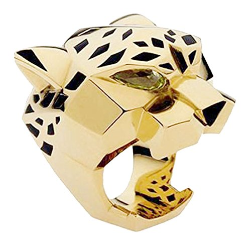 EVER FAITH Gold-Tone Leopard Man Woman Cocktail Ring Green Zircon Eyes - 7