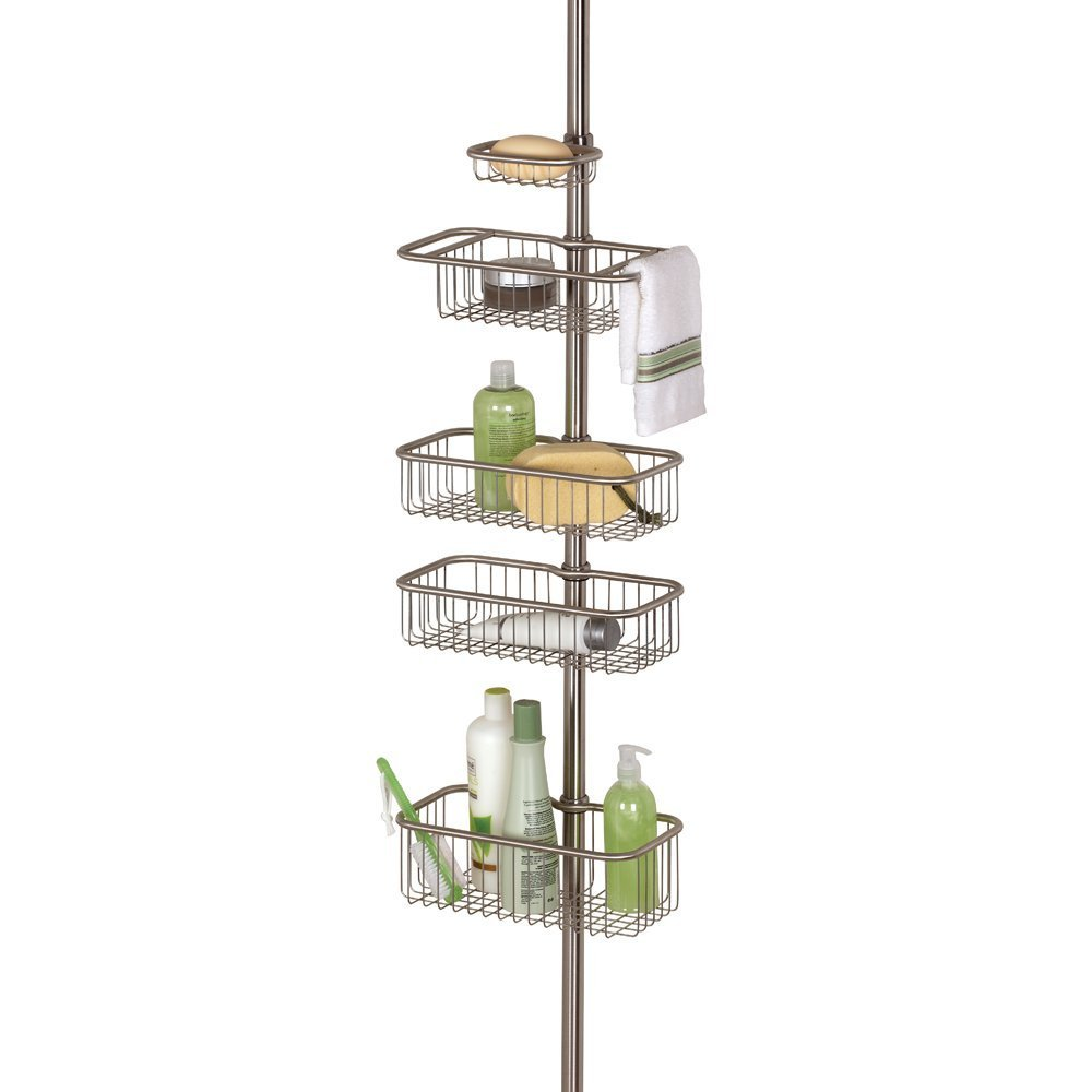 amazon com interdesign forma ultra bathroom constant tension amazon com interdesign forma ultra bathroom constant tension corner shower caddy for shampoo conditioner soap brushed stainless home kitchen