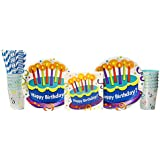 Cake Surprise Birthday Party Supplies Pack for 16 Guests: Straws, Dinner Plates, Luncheon Napkins, and Cups