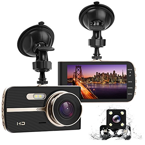 - Dual Dash Cam, 4.0 HD IPS Screen, DONGKER FHD 1080P Front Cam + VGA Rear Cam, 290 Wide Angle Motion Detector Dash Cam with Sony CMOS chip, HDR, G-Sensor, Parking Monitor, Night Vision
