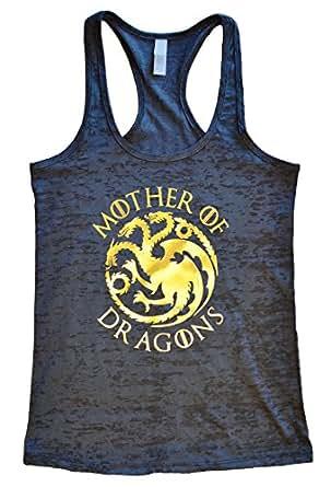 Womens Mother Of Dragons II - Game of Thrones Metallic Tank Top - Funny Threadz (Small, Black/Gold Metallic Foil)