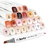 Arrtx 24 Colors Skin Tone Marker Set Dual Tip Twin, Artist Permanent Sketch Manga Marker Pens for Portrait Illustration Drawing Coloring, Alcohol Based Art Markers