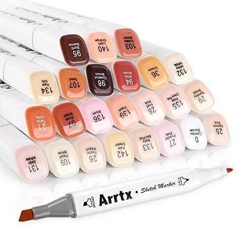 Arrtx 24 Colors Skin Tone Marker Set Dual Tip Twin, Artist Permanent Sketch Manga Marker Pens for Portrait Illustration Drawing Coloring, - Copic Art