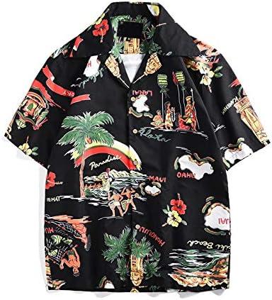 DXHNIIS Camisa de Hombre de Estilo Hawaiano Camisa de Manga Corta Cuello Redondo Camisa Retro High Street Fashion Shirts Hombre XXL Camisa Negra: Amazon.es: Deportes y aire libre