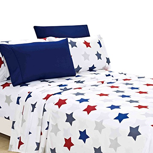 American Home Collection Deluxe 6 Piece Printed Sheet Set Of Brushed Fabric, Deep Pocket Wrinkle Resistant - Hypoallergenic (King, Union Stars) (Union Printed)