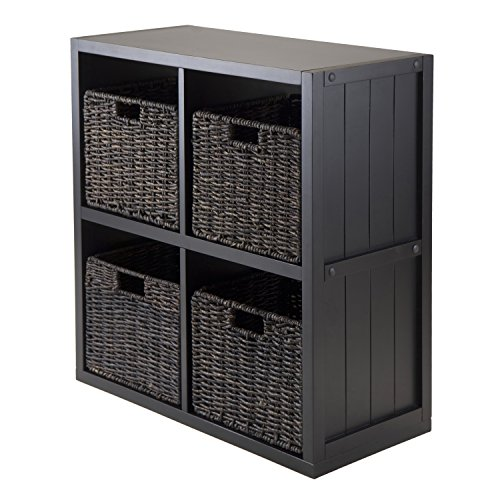 winsome-wood-5-piece-wainscoting-panel-2-by-2-cube-shelf-with-4-foldable-baskets