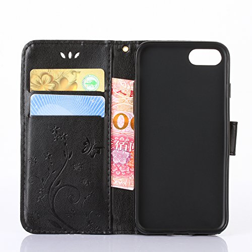 iPhone 7 Case, Urvoix Card Holder Stand Smooth Hand Feel PU Leather Wallet Case – Embossed Flower Butterfly Flip Cover For 4.7 versione iphone7 (Not for 7plus) Black
