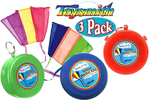 Toysmith Ready to Fly Deluxe Pocket Kites Red, Blue & Green Gift Set Bundle - 3 Pack by Toysmith