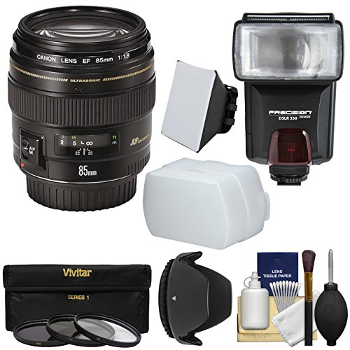 Canon EF 85mm f/1.8 USM Lens with 3 Filters + Hood + Flash & 2 Diffusers + Kit by Canon