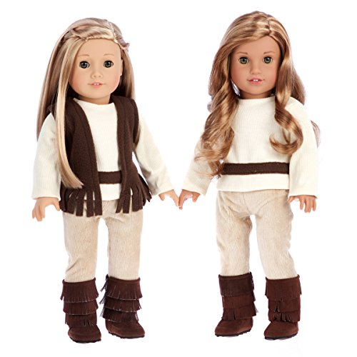 DreamWorld Collections - Warm and Cozy - 4 Piece Outfit - Clothes Fits 18 Inch American Girl Doll - Brown Vest, Ivory Blouse, Corduroy Pants and Brown Boots. (Doll Not Included)
