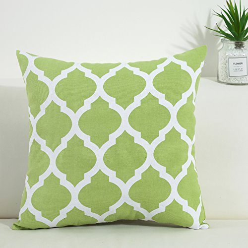 TAOSON Green and White Decorative Cushion Cover Pillow Cover Pillowcase Cotton Canvas Moroccan Quatrefoil Pattern Print Square Two Sides with Hidden Zipper Closure Only Cover 24x24 Inch 60x60cm