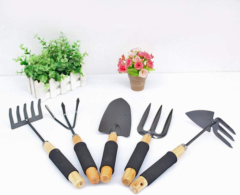 LXFMZ Jardinería Cinco Piezas Conjunto de Mango Negro Pala Grande pequeña Pala Pala Pala de Flor Doble Uso de Herramientas de jardinería de Juego de jardín Herramientas agrícolas