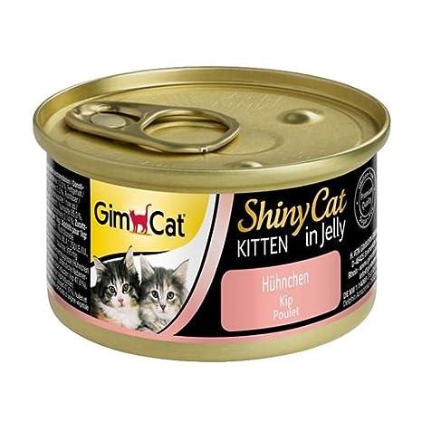 GimCat ShinyCat - Boîtes pour chatons en gelée - Avec des petits morceaux de poulet - Lot de 24 x 70 g 413143 aliment humide alimentation chat alimentation chaton