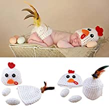 Osye Newborn Baby Crochet Knitted Outfit Handmade Animal Style Costume Set Photography Photo Props (White Chicken)