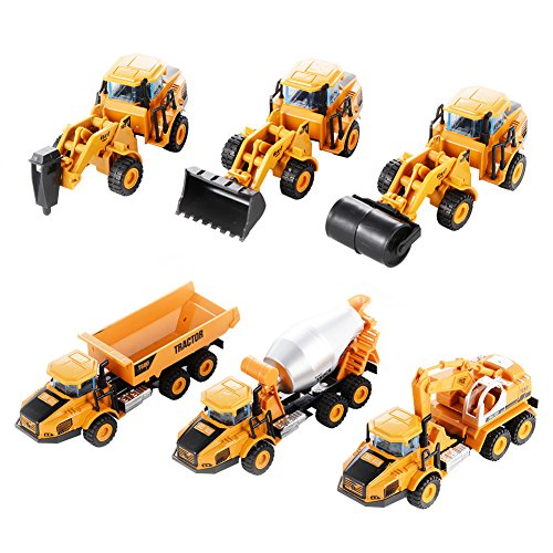 Acefun 6PCS Diecast Metal Car Models Play Set Builders Construction Trucks Vehicle Playset
