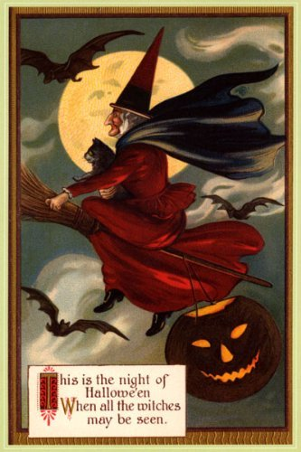 WONDERFULITEMS NIGHT OF HALLOWEEN WITCH FLYING BROOM MOON BLACK CAT PUMPKIN BATS 12