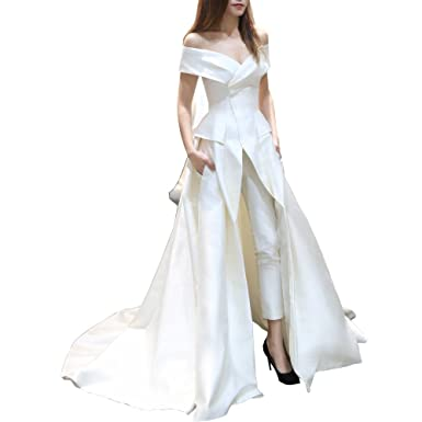39b16c2b5a Ike Chimbandi Women's Jumpsuit with Long Train Evening Dress Off Shoulder  White Prom Gown at Amazon Women's Clothing store: