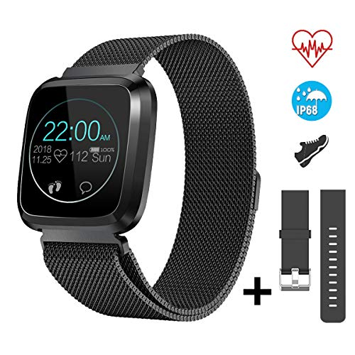 CatShin Smart Watch Fitness Tracker Watch with Heart Rate Monitor-CS08 Waterproof IP68 Pedometer SMS Camera Music Control Sleep Monitor for Android/iOS Swimming Smartwatch for Women Men (Black)