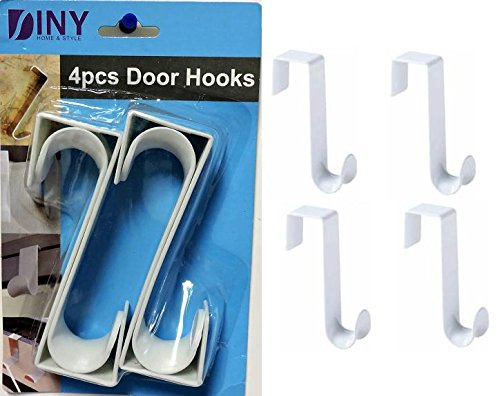 Over The Door Hooks Hangers, Laundry Hanger White Plastic 4 Pack Coats Towels Clothes (Plastic Hangers Door)