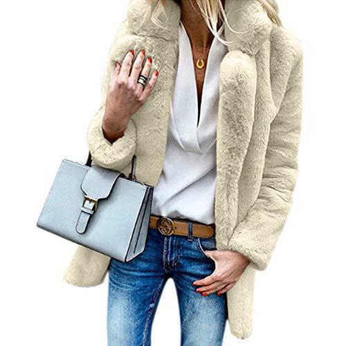 Dames S Femmes Ouvrir Doux Avant D'extérieur Chaud Veste Manteau Blanc Sodial Vêtements Abricot Décontractée Mode Automne Hiver Cardigan Vestes 1qdnw0T