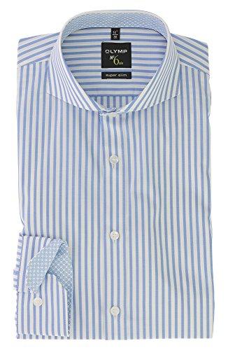 OLYMP No. SIX Herren Langarm Businesshemd | Super Slim mit Haifisch Kragen Comfort Stretch | Gr.44 Bleu Blau - Bügelleicht