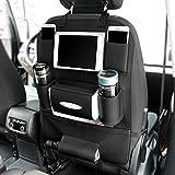 Car Seat Back Organizer PU Leatherand Universal Backseat Storage Holder Bag for iPad mini Cellphones, Bottles, Books, Tissue Box, Kids' Toys, Umbrella