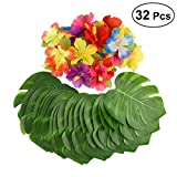 32pcs Tropical Leaves Party Decorations Artificial Tropical Palm Leaves and Hibiscus Flowers for Birthday Party Decoration Supplies