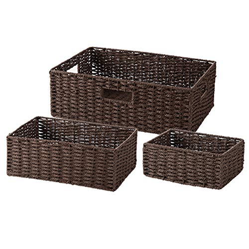 Storage Baskets with Handles,3 Piece Nesting Baskets, Brown Wicker Storage Containers, Storage Bins Set for Shelves Home Closet Bedroom Drawers Organizers Room ()