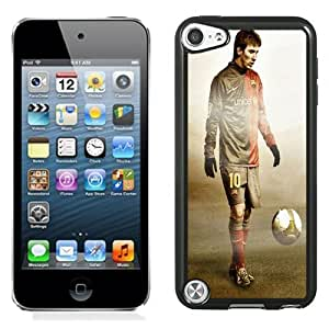 Fashionable Custom Designed iPod Touch 5 Phone Case With Lionel Messi FC Barcelona Grunge Texture_Black Phone Case