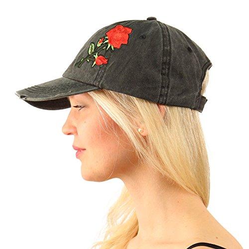se Floral Embroidery Baseball Sun Cap Dad Hat Denim Black ()