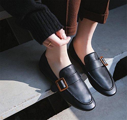 del cuadrada la a39 black Punta piel Zapatos 36 Tamaño blanda cinturón Mocasines mujer Retro genuina Hebilla de de Suela oficina wqSYUSHz