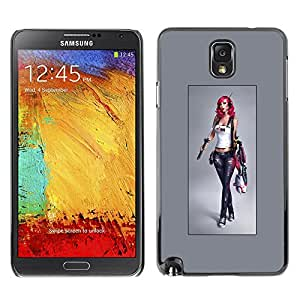 Plastic Shell Protective Case Cover || Samsung Galaxy Note 3 N9000 N9002 N9005 || Girl Woman Grey Tanktop Babe @XPTECH