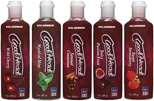 Doc Johnson GoodHead - Oral Delight Gel Variety Pack - Cherry, Mint, Cinnamon, Passion Fruit, Strawberry - 5 x 1 oz. (5 X 28 g)