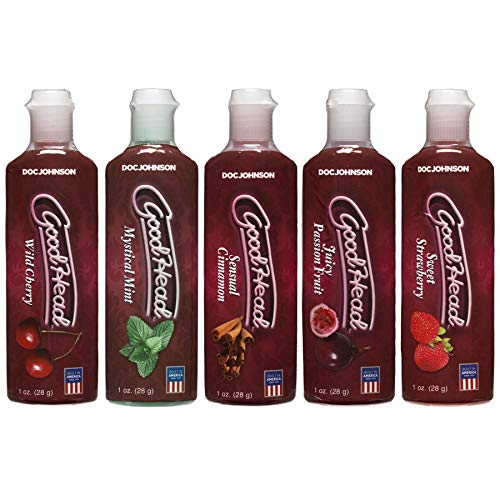 Doc Johnson GoodHead - Oral Delight Gel Variety Pack - Cherry, Mint, Cinnamon, Passion Fruit, Strawberry - 5 x 1 oz. (5 X 28 g)