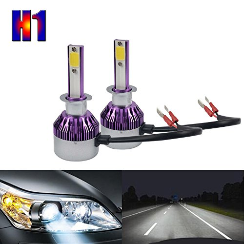 Car Headlight Replacement Bulbs LED H1 - COB Chip High Low Beam Fog Lights Lamp Bulb Kit 6000K Super Bright White