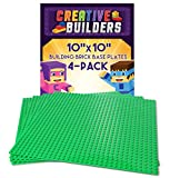 "Creative Builders | 4-Pack Sets of X Large Green Building Brick Baseplates (Giant 10"" x 10"" inch ) For Boys, Girls, & Friends 